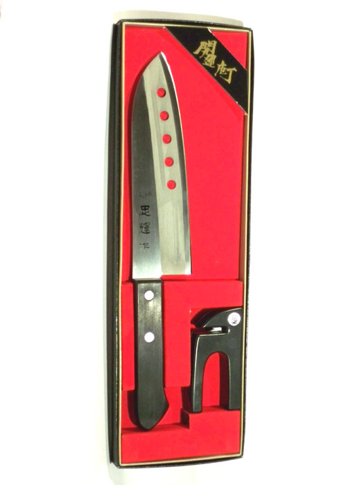 Набор: Поварской нож Сантоку и керамическая точилка Tojiro FG-130