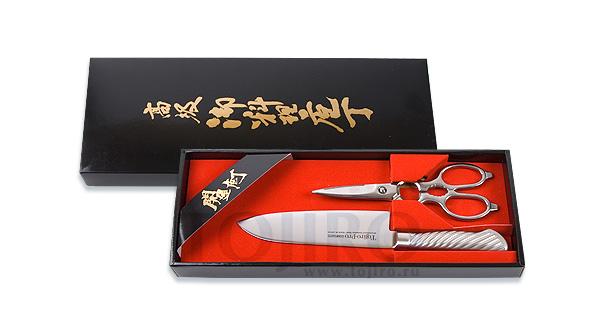 Набор ножей: Поварской нож Сантоку и кухонные ножницы Tojiro FG-206