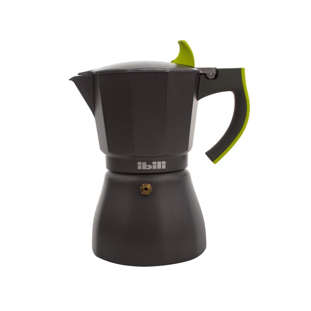 Кофеварка гейзерная на 6 чашек для всех типов плит IBILI Sensive 621106, ручка зеленая
