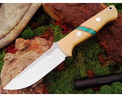 Нож туристический Bark River Bravo 1 3VR  Antique Ivory Web Turquoise Spacer