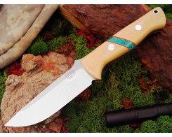 Нож туристический Bark River Bravo 1 3VR  Antique Ivory Web Turquoise Spacer