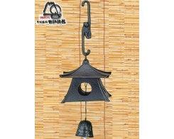 Фурин IWACHU 27003, Обезьянка, пагода и колокольчик, цвет черный