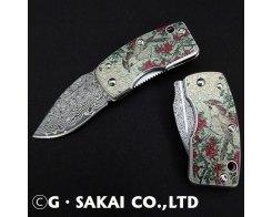 Зажим для денег с ножом G.Sakai UKIMON Damascus Szanqua(camellia)