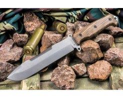 Нож выживания Kizlyar Supreme 1822 Survivalist X AUS-8 Stonewash орех, 33 см.