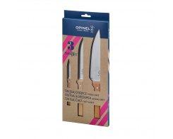 Набор ножей Opinel Parallele trio set №126, №119, №124, дерево, нержавеющая сталь