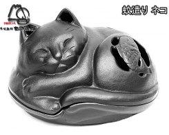 Чугунная подставка для спирали от насекомых, IWACHU 18310, Спящий кот черный