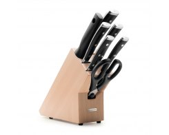Набор ножей 5 предметов + мусат+ ножницы, на подставке Wuesthof Classic Ikon 1090370701